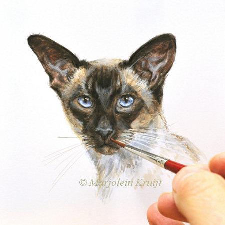 Miniatuur dierenportret, siamees II, acryl, 10x10 cm, Marjolein Kruijt (verkocht)