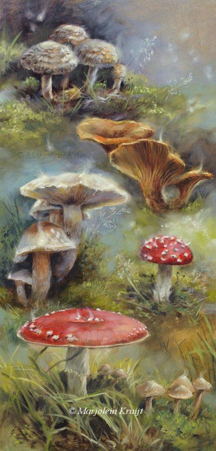 'Toadstools & fairy lights', schilderij Marjolein Kruijt