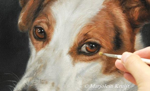'Jack russell' portret hond, schilderij in opdracht door Marjolein Kruijt