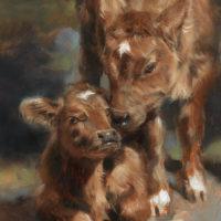 'Kalfjes', olieverf schilderij koeien, 18x13 cm (verkocht)