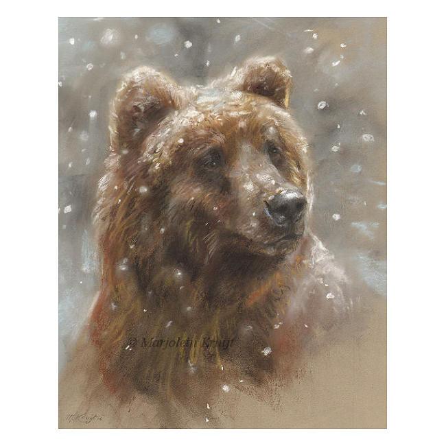 'Beer in de sneeuw', pastel schilderij / tekening (te koop)