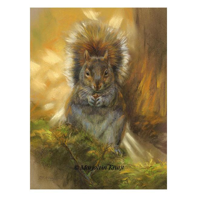 'Eekhoorn in de herfst', pastel tekening | schilderij (te koop)