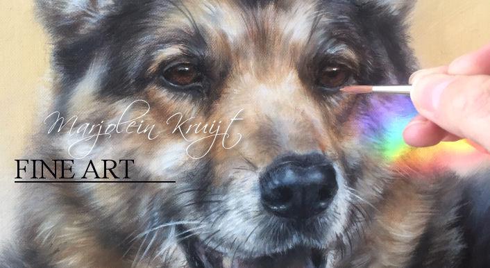 Herdershond portret schilderij -dierportretten in opdracht door Marjolein Kruijt