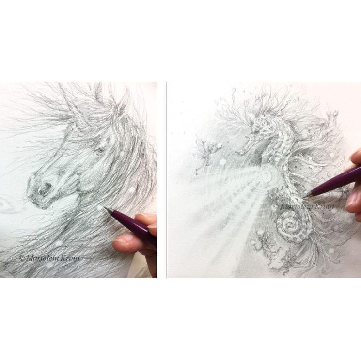 eenhoorn tekening - zeepaard met elfen - spirituele kunst Marjolein Kruijt