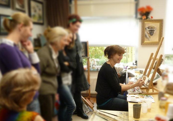 Workshop dieren tekenen en schilderen bij Marjolein Kruijt - masterclass - art-coaching kunstenaars