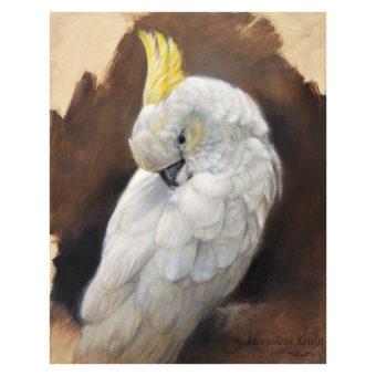 'Geelkuifkaketoe', 30x24 cm, olieverf schilderij (te koop)