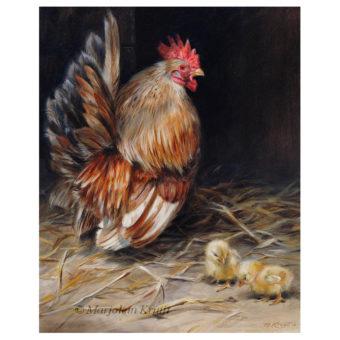 'Best dad'- Chabo Japanse kriel, 30x24x30 cm, olieverf schilderij (te koop)