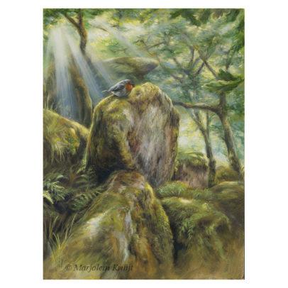 'Enchanted woods'- Roodborstje, 30x40 cm, olieverf schilderij (te koop)