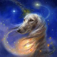 'Love of Dogs', 13x13 cm, olieverf schilderij