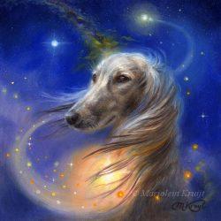 'Love of Dogs', 13x13 cm, olieverf schilderij (te koop)