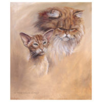 'Oosters korthaar en pers', 35x30 cm, olieverf schilderij (te koop)