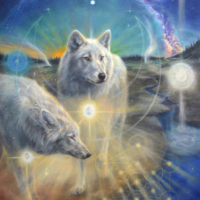 Illumined II - ascended wolves of Yellowstone NP & Aa Metatron, 120x80 cm, olieverf op doek