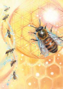 'Bijen', olieverf schilderij (gepubl. als oracle card)