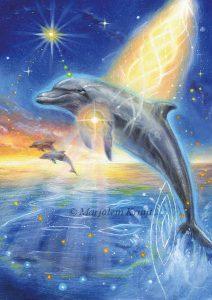 'Dolfijn', olieverf schilderij (gepubl. als oracle card)