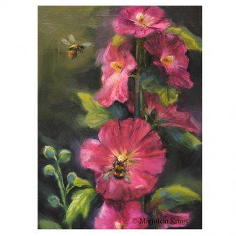 'Stokrozen en hommels', olieverf schilderij 18x13cm (te koop)