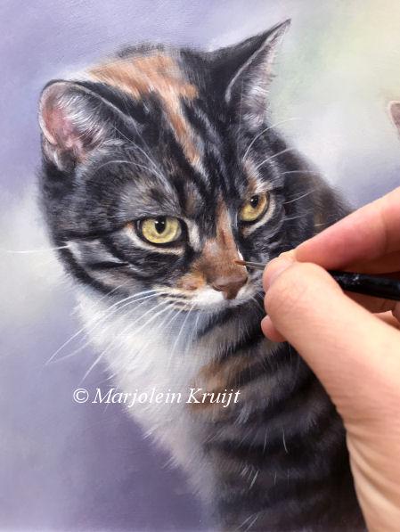 Kattenkunst, kattenportretten, schilderijen in opdracht door Marjolein Kruijt