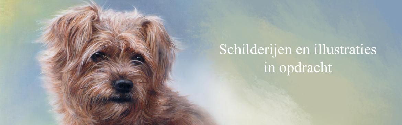 Hondenkunst, hondenschilderijen vrij werk & hondenportret in opdracht door Marjolein Kruijt