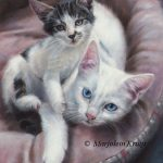 'Kittens', 24x18 cm, olieverf portret (verkocht/opdracht)