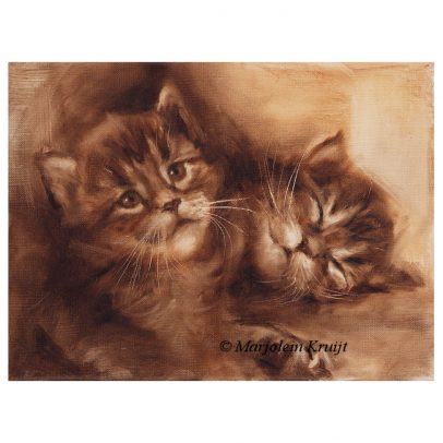 'Kittens in sepia', 18x24 cm, olieverf schilderij (te koop)