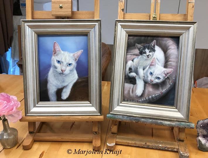 Portretschilderij kat, kattenportretten en huisdieren schilderijen in opdracht ~ Marjolein Kruijt