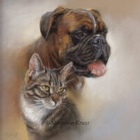'Boxer en cyper', pastel portret schilderij (verkocht/opdracht)