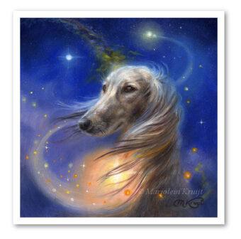 Saluki hond, 15x15 cm kunst reproductie Artprint (te koop)