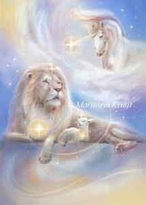 (37) Vredevolle krijger -peaceful-warrior orakelkaart / oracle card leeuw en lam