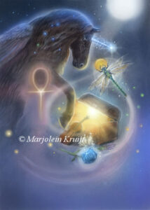 (10) explore your treasure chest - zwarte eenhoorn illustratie
