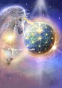 (42)oneness - eenheid. Eenhoorns houden aarde in het licht