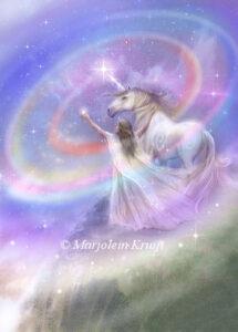 (43) enlightenment - orakelkaart / oracle card eenhoorn illustratie