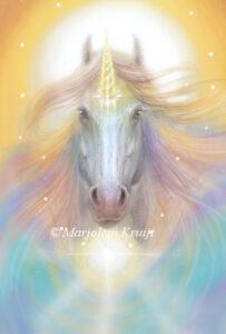 (16) soul healing -zielheling met eenhoorns orakelkaart illustratie